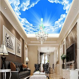 3D Bright Sky Printed PVC Waterproof Sturdy Eco-friendly Self-Adhesive Ceiling Murals