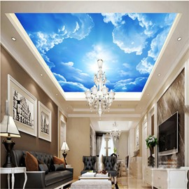 3D Blue Sky Clouds PVC Waterproof Sturdy Eco-friendly Self-Adhesive Ceiling Murals
