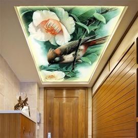 3D Flowers Bird Pattern PVC Waterproof Sturdy Eco-friendly Self-Adhesive Ceiling Murals