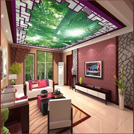 3D Green Trees in Sunshine Printed PVC Waterproof Sturdy Eco-friendly Self-Adhesive Ceiling Murals