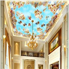 3D Angels Pattern PVC Waterproof Sturdy Eco-friendly Self-Adhesive Blue Ceiling Murals