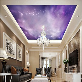 3D Purple PVC Waterproof Sturdy Eco-friendly Self-Adhesive Ceiling Murals