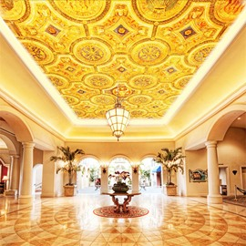 3D Golden PVC Waterproof Sturdy Eco-friendly Self-Adhesive Ceiling Murals