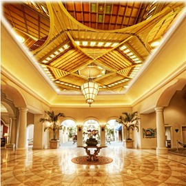 3D Yellow Sculpture Pattern PVC Waterproof Sturdy Eco-friendly Self-Adhesive Ceiling Murals