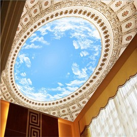3D Blue Sky Pattern PVC Waterproof Sturdy Eco-friendly Self-Adhesive Blue Ceiling Murals