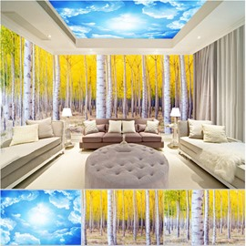 Blue Sky and Yellow Tree Pattern 3D Waterproof Ceiling and Wall Murals