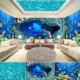 Blue and Green Whale and Marine Fish Pattern 3D Waterproof Ceiling and Wall Murals