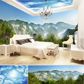 Blue Sky and Mountains Pattern 3D Waterproof Ceiling and Wall Murals
