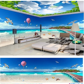 Blue Sky and Beaches and Seagulls Pattern 3D Waterproof Ceiling and Wall Murals