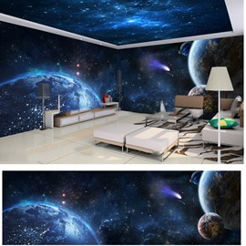 Blue Starry Sky with Planet Pattern 3D Waterproof Ceiling and Wall Murals