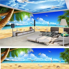 Blue Sky Beach and Coconut Trees Pattern 3D Waterproof Ceiling and Wall Murals