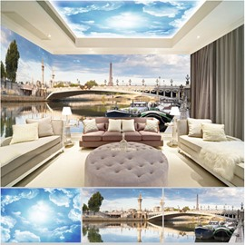 Blue Sky Lake with Bridge Pattern 3D Waterproof Ceiling and Wall Murals