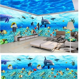 Sea Fish and Dolphin Pattern 3D Waterproof Ceiling and Wall Murals