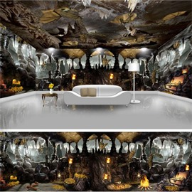 Black Caves and Bats Pattern 3D Waterproof Ceiling and Wall Murals