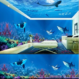 Blue Ocean with Sharks Pattern 3D Waterproof Ceiling and Wall Murals