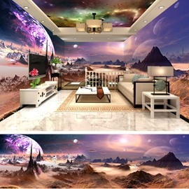 Purple Planet Surface with Colorful Aurora Pattern 3D Waterproof Ceiling and Wall Murals