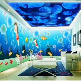 Blue Jellyfish and Cartoon Girl with Fish Pattern 3D Waterproof Ceiling and Wall Murals