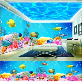 Blue Sky and Fish with Bubble Pattern 3D Waterproof Ceiling and Wall Murals