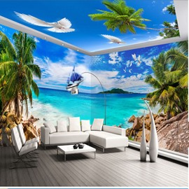Blue Sky and Coconut Tree with Beach Pattern 3D Waterproof Ceiling and Wall Murals