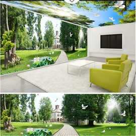 Blue Sky and Lawn with House Pattern 3D Waterproof Ceiling and Wall Murals