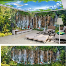 Blue Sky and Waterfall with Stone Pattern 3D Waterproof Ceiling and Wall Murals