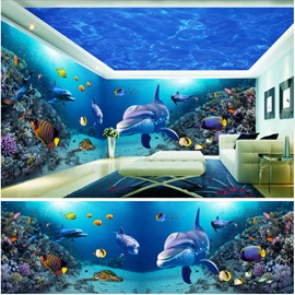 Blue Ocean and Dolphin with Bubble Pattern 3D Waterproof Ceiling and Wall Murals