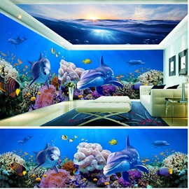 Blue Ocean and Dolphin with Colorful Coral Pattern 3D Waterproof Ceiling and Wall Murals