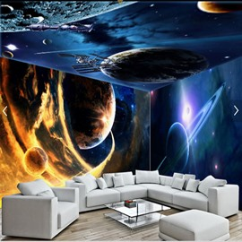 Blue Planets and Stars Pattern 3D Waterproof Ceiling and Wall Murals