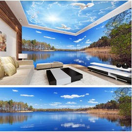 Blue Sky and Trees Around the Lake Pattern 3D Waterproof Ceiling and Wall Murals