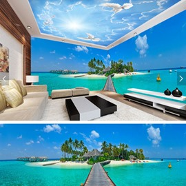 Blue Sky and Lake with Bridge Pattern 3D Waterproof Ceiling and Wall Murals