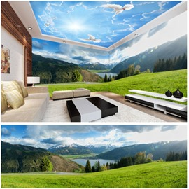 Blue Sky and Grass with Mountain Pattern 3D Waterproof Ceiling and Wall Murals