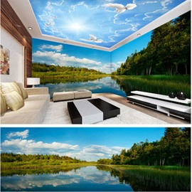 Blue Sky and Lake with Tree Pattern 3D Waterproof Ceiling and Wall Murals