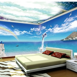 White Cloud and Dolphin Rainbow Pattern 3D Waterproof Ceiling and Wall Murals
