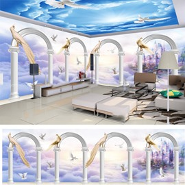 Blue Sky and Arch Door Pattern 3D Waterproof Ceiling and Wall Murals