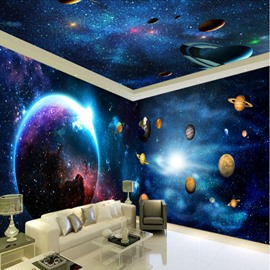 Dark Blue Starry Sky and Planet Pattern 3D Waterproof Ceiling and Wall Murals