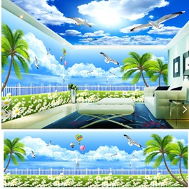 Blue Sky and Coconut Tree with Dove Pattern 3D Waterproof Ceiling and Wall Murals
