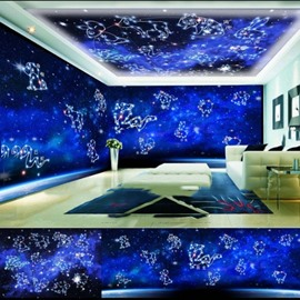 Blue Zodiac Animals Pattern 3D Waterproof Ceiling and Wall Murals