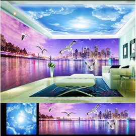 Blue Sky and Purple Lake Pattern 3D Waterproof Ceiling and Wall Murals