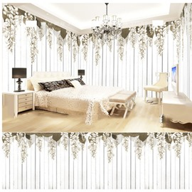 White Flower and Stripe Pattern 3D Waterproof Ceiling and Wall Murals