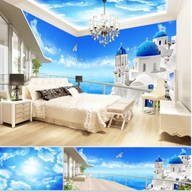 Blue Sky and Building Pattern 3D Waterproof Ceiling and Wall Murals