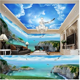 Blue Sky and Mountain with Dove Pattern 3D Waterproof Ceiling and Wall Murals