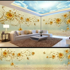 Blue Sky and Yellow Rose Pattern 3D Waterproof Ceiling and Wall Murals