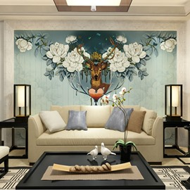 Non-woven Fabrics Waterproof Elegant Elk Nordic style Environment Friendly 3D Wall Murals/Wallpaper