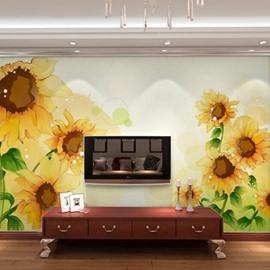 TV Wall Non-woven Fabrics Waterproof Sunflower Environment Friendly 3D Wall Murals/Wallpaper