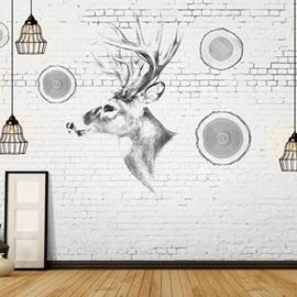 Non-woven Fabrics Waterproof Nordic style Elk 3D Wall Murals/Wallpaper
