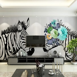 Non-woven Fabrics Waterproof Creative Big Zebra 3D Wall Murals/Wallpaper