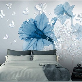 Waterproof Environment Friendly Non-woven Fabrics Blue Big Flower 3D Wall Murals/Wallpaper