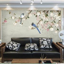 Birds And Flower Waterproof Environment Friendly Non-woven Fabrics 3D Wall Murals/Wallpaper