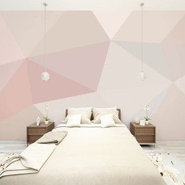 Simple Pink Waterproof Environment Friendly Non-woven Fabrics 3D Wall Murals/Wallpaper