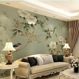 Non-woven Fabrics Waterproof Simple Design Birds And Flower Environment Friendly 3D Wall Murals/Wallpaper